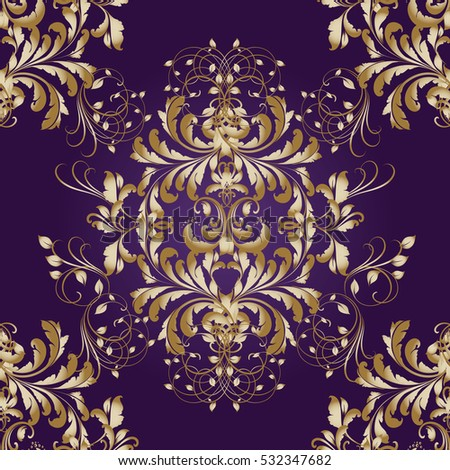 purple background damask gold stock images royaltyfree