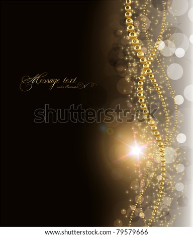 elegant magic golden background with place for text invitation. with stars, sun shine and sparks. eps 10.