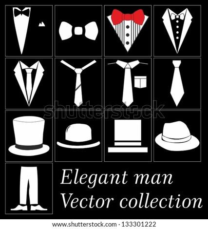 Elegant man clothes vector collection - stock vector