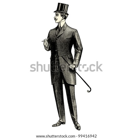 Elegant man of the nineteenth century - vintage engraved illustration - Catalog of a French department store - Paris 1909 - stock vector