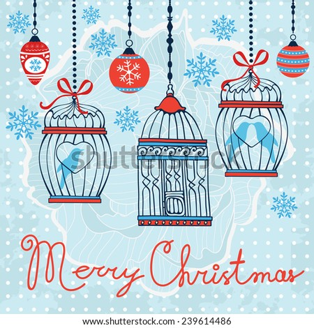 Elegant Merry Christmas card with baubles and cages. vector illustration - stock vector