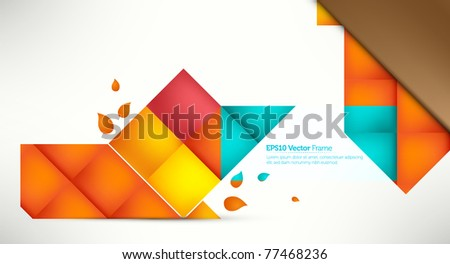 Elegant Message Frame, presenting your text in Intensive Colors | Colorful Folded Papers - stock vector