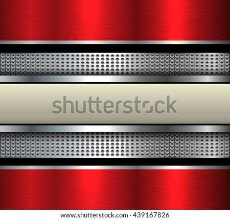 Elegant metal background with beige  banner over dotted pattern - stock vector