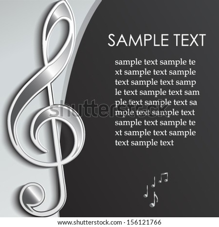 elegant metal violin clef / music background/ vector illustration eps 10 - stock vector