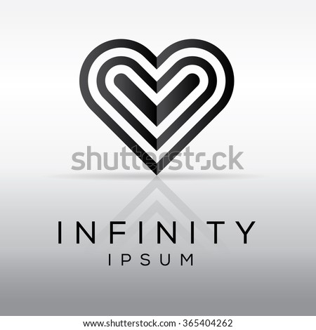 Elegant Minimal Heart Symbol Cool Logo Design Vector Illustration