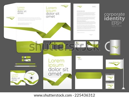 Elegant minimal style corporate identity template design with green line. Vector company style. - stock vector