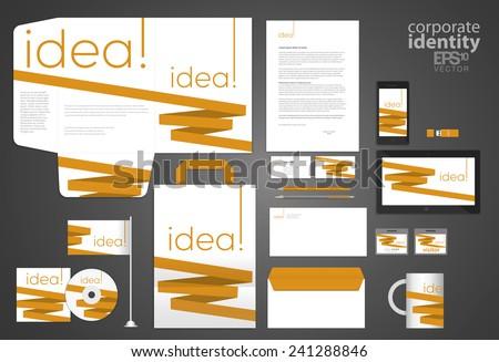 Elegant minimal style corporate identity template design with orange line. Vector company style. - stock vector