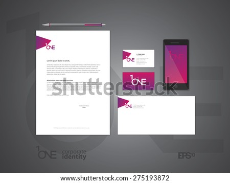 Elegant minimal style corporate identity template. Letter envelope and business card design. Vector illustration. - stock vector