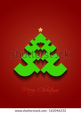 Elegant modern design Christmas background in red color with creative Christmas tree. vector illustration - stock vector