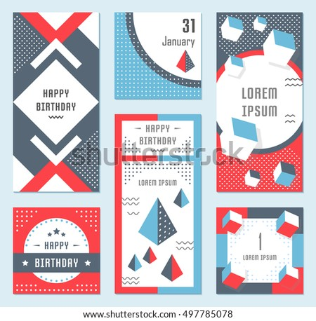 elegant modern flyers cards origami geometric stock vector 497785078