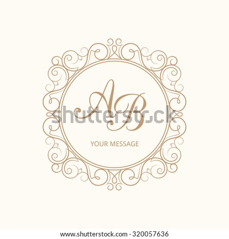 Elegant monogram design template for one or two letters . Wedding monogram. Calligraphic elegant ornament. Vector illustration. Business sign, monogram identity for restaurant, boutique, cafe, hotel - stock vector