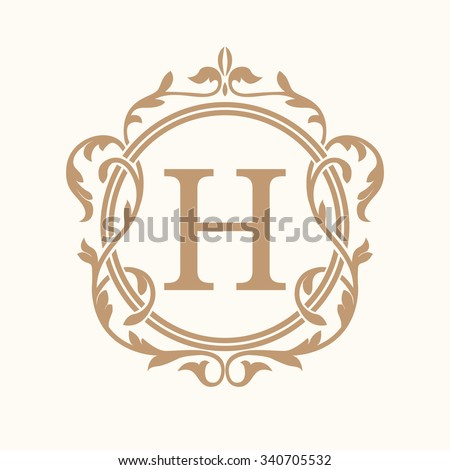 Elegant monogram design template. Wedding monogram. Calligraphic floral ornament. Can be used for label and invitation design .Business sign, monogram identity for restaurant, hotel, heraldic, jewelry - stock vector