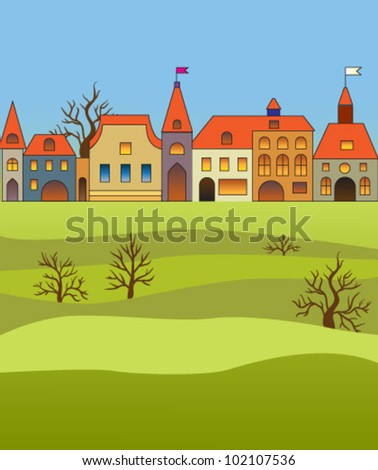 Elegant old street of a small town - stock vector