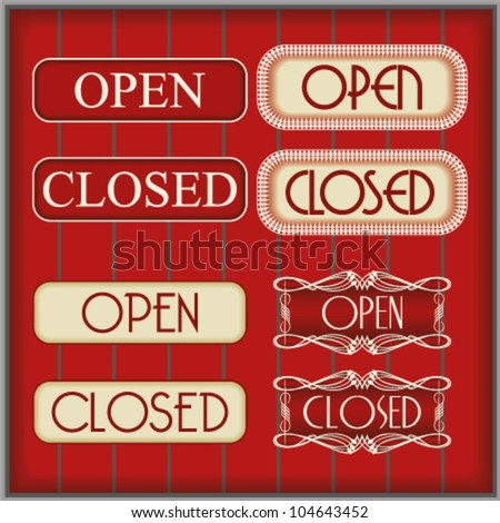 Elegant open and close signs on dark brown background - stock vector