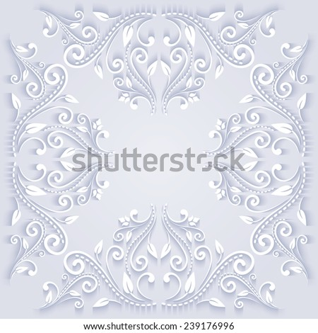 Elegant ornate background in paper cut stile. Isolated on grey background. Vector illustration  - stock vector