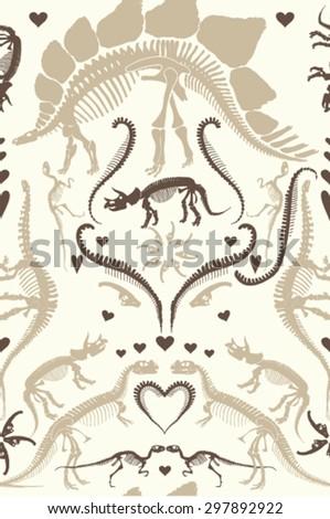 Elegant ornate dinosaur skeleton seamless vector pattern - stock vector