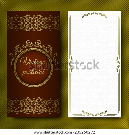 Elegant pattern, luxurious card with lace ornaments and place for text. Floral elements on a dark red background on. - stock vector