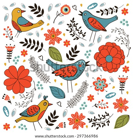 Elegant pattern with flowers and birds. Vector illustration - stock vector
