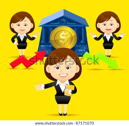 Elegant People Series | Beautiful business woman with finance ,up,down arrow and coin. - stock vector