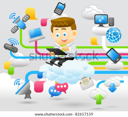 Elegant People Series | business man and cloud network. - stock vector