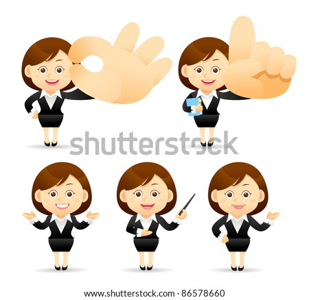 Elegant People Series |  business woman with pointer and hand sign - stock vector