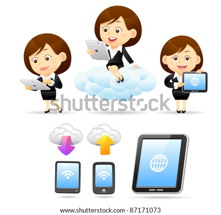 Elegant People Series |  business women ,smart phone ,Tablet PC and cloud computing.. - stock vector