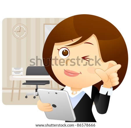 Elegant People Series |  business women with Tablet PC at the office - stock vector