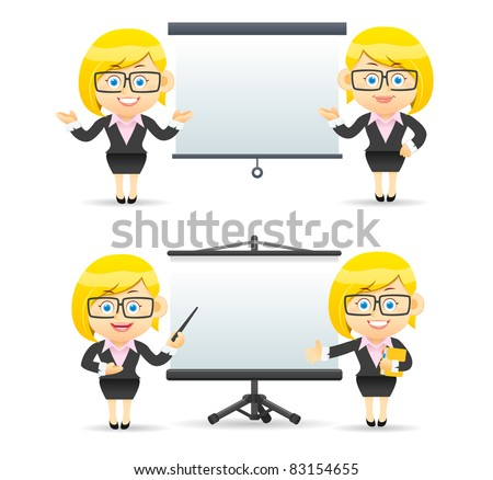 Elegant People Series | Businesswoman giving presentation - stock vector