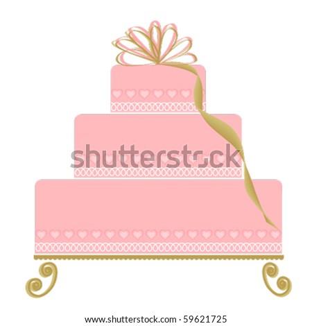 Elegant Pink Cake on Ornate Cake Plate - stock vector