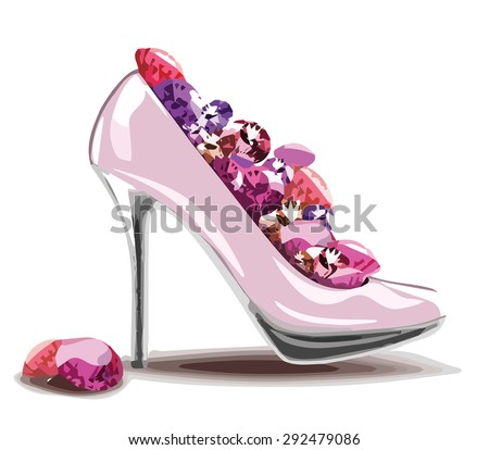 Elegant pink, high heel shoe with diamonds, jewelry. Shoes, symbol for wedding and engagement. Vector eps10. - stock vector