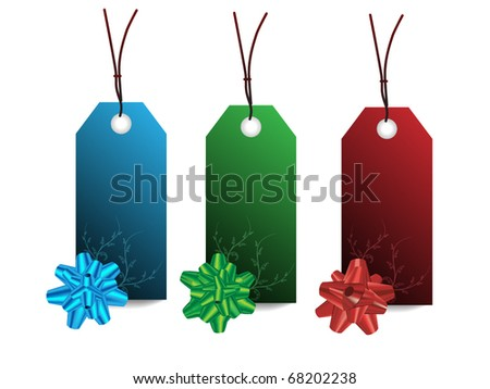 Elegant price tag with bow - three color - blue red green
