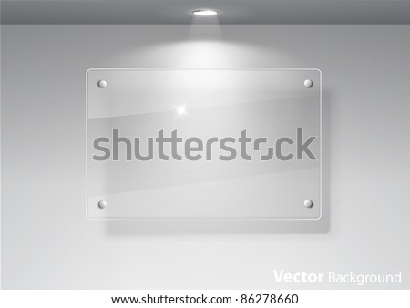 Elegant realistic glass frame on a wall with lights for images and advertisement. Fully editable eps10 - stock vector