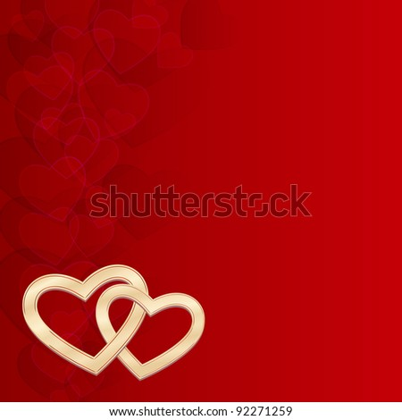 elegant red background with two gold hearts