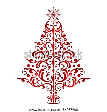 Elegant Red Christmas Tree - stock vector