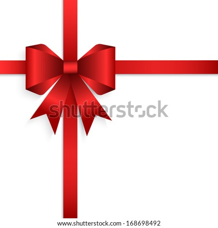 elegant red ribbon and bow isolated on white - stock vector