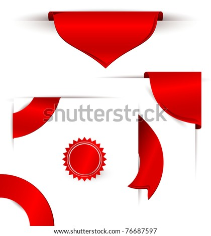Elegant red vector labels eps 10 - stock vector