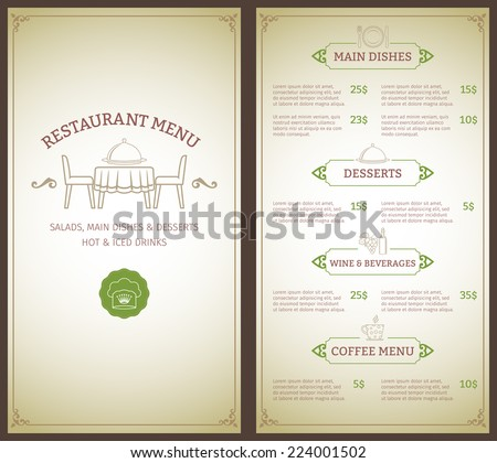 Elegant restaurant menu list with decorative elements vector illustration - stock vector