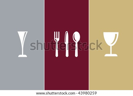Elegant Restaurant Symbols - champagne glass, knife, fork, spoon and whine glass