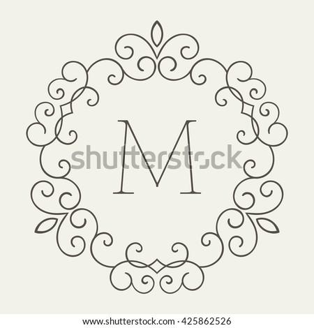 Elegant retro lineart floral frame with letter M. Monogram identity, business sign, logo design. Design template for banner, card, invitation, label, emblem etc. Vector illustration. - stock vector