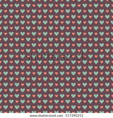Elegant romantic vector seamless pattern (tiling). Retro pink, brown and blue colors. Endless texture can be used for printing onto fabric and paper or scrap booking. Sweet hearts. - stock vector