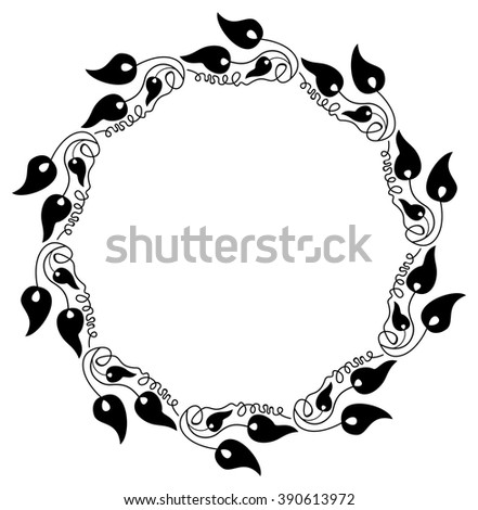 Elegant round frame with silhouettes of decorative plants. - stock vector