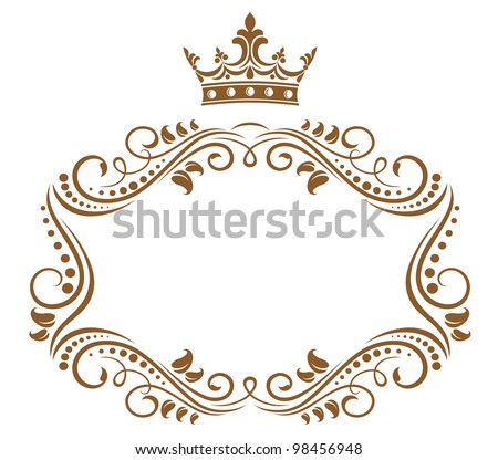 elegant royal frame with crown isolated on white background jpeg version also available in gallery