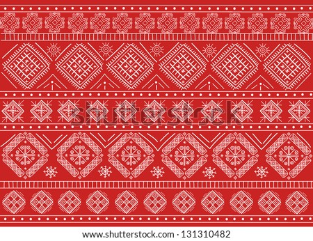 Elegant Russian Ornament Background Red in Vector - stock vector