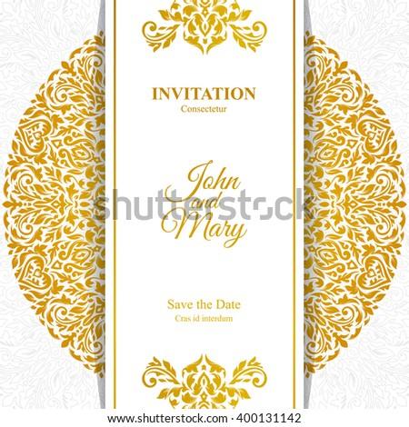 elegant save date card design vintage ベクター画像素材 400131142