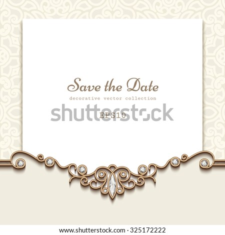 Elegant save the date card with jewelry diamond decoration, vintage wedding invitation or announcement template, vector illustration - stock vector