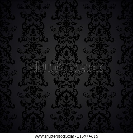 elegant seamless damask pattern black and grey - stock vector