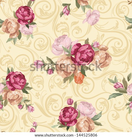 Elegant Seamless floral pattern with rose flowers. Color peony pattern on abstract background, vector illustration - stock vector