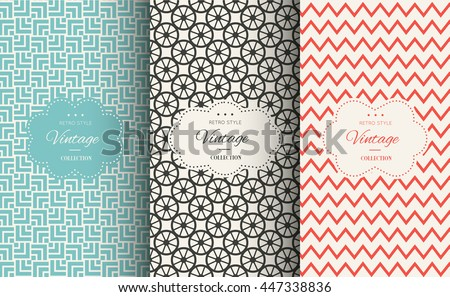 Elegant seamless pattern set. Vector illustration for fashion design. Packing element for label, background, wallpaper in trendy linear style. Cafe, pastry shop, sweet-shop menu template Retro vintage