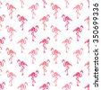 Elegant seamless pattern with abstract flamingo symbols, design elements. Can be used for invitations, greeting cards, scrapbooking, print, gift wrap, manufacturing. Bird theme - stock vector