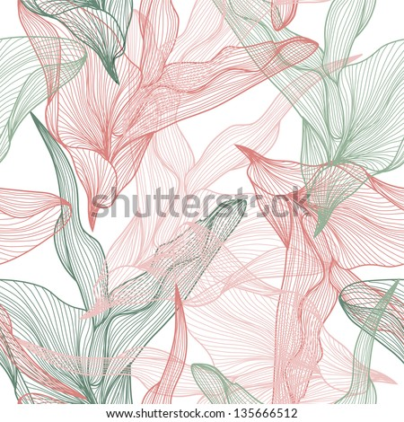 elegant seamless pattern with abstract leaves for your design - stock vector